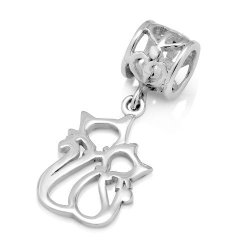 925 Sterling Silver Couple Cat Dangle Bead Charm Fit Major Brand Bracelet