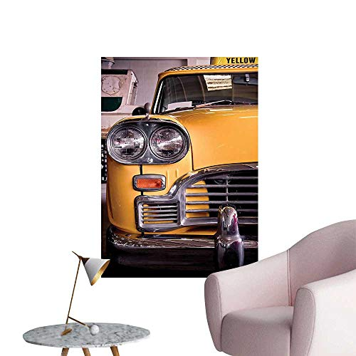 Modern Decor Picture of Antique Yellow Taxi Historical Element of Old NYC Nostalgia Vintage Cab Ideal Kids Decor or Adults,32
