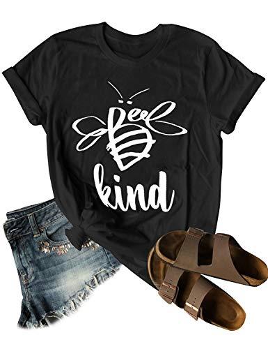 OUNAR Be Kind T-Shirt Women Cute Graphic Bee Animal Blessed Shirt Christian Teacher Top Tee Black