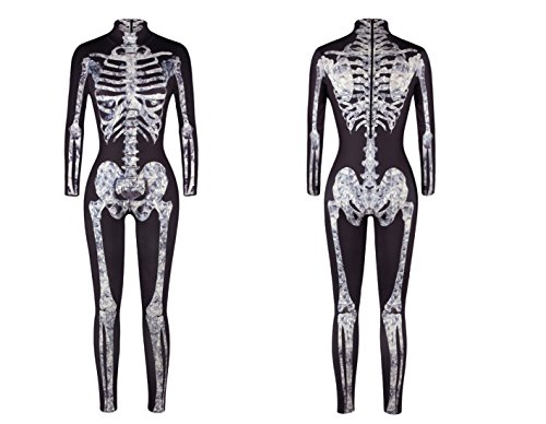 URVIP Women Halloween Skeleton Costume Stretch Skinny Catsuit Jumpsuit  Bodysuit 4ec280411