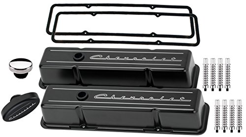NEW BILLET SPECIALTIES SMALL BLOCK CHEVY TALL BLACK ALUMINUM VALVE COVER SET WITH CHEVROLET SCRIPT COVERS, CHEVROLET SCRIPT BREATHER, OIL FILL CAP, RIBBED HOLD DOWNS, & PERMALIGN GASKETS