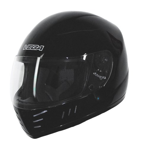Vega Trak Junior Full Face Karting Helmet (Gloss Black, Small)