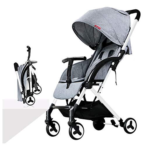 (Lana Baby Stroller Seated Horizontal Portable Folding Ultra-Light Shock Absorber Stroller Newborn Four Seasons Universal Travel Arm Pull Rod Integration (Color : Gray))