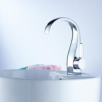 Deck Mount One Single Handle Centerset Bathroom Sink Faucet Chrome Bath Tub Mixer Taps Bath Tub Faucet Cheap Discount Unique Designer Plumbing Fixtures Single Hole Faucet Direct Curve Tall Spout