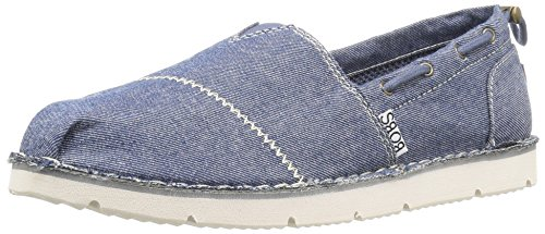 BOBS from Skechers Women's Chill Flex-New Groove Flat, Navy Groove, 8 M US