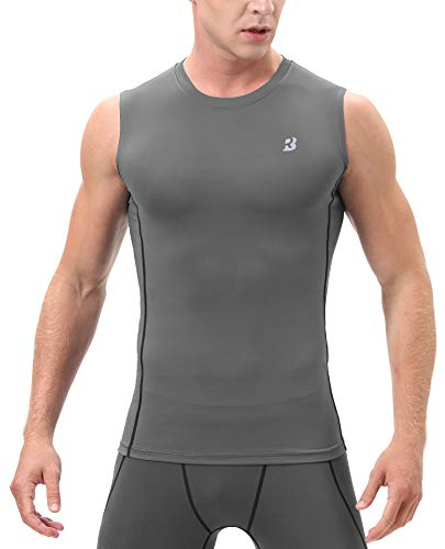 (Roadbox (Grey,X-Large Men's Athletic Compression Sleeveless Shirt Sport Muscle Tank Top)