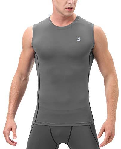 Roadbox (Grey,X-Large Men's Athletic Compression Sleeveless Shirt Sport Muscle Tank Top