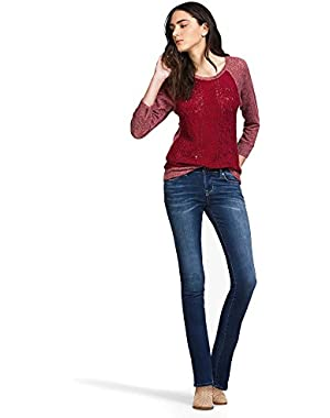 Women's Mid Rise Slim Fit Brooke Straight Jean