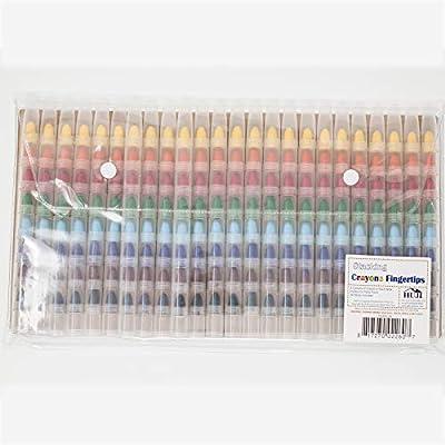 HUJI Stacking 8 Colors Crayon Fingertips Set, Favorite Toys for Kids Party Favors (Crayon-Fingertips, 24 PCS): Office Products