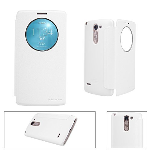 G3 Stylus Leather Case, Monoy Smart Wake UP/Sleep Side Flip Pu Leather Cover Pc Hard Case Shell Compatible for LG G3 Stylus, D690 D693 (White Leather Case)