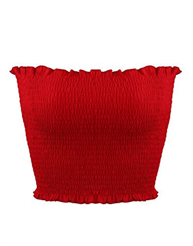 Sweetbei J Womens Strapless Pleated Summer Sexy Bandeau Tube Crop Tops Red M ()