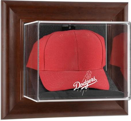 Mounted Memories Los Angeles Dodgers Brown Framed Wall Mounted Logo Cap Case - Display Logo Browns Case