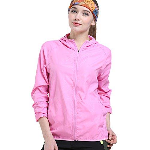 SANKE Mujer Super ligero chaqueta de viaje al aire libre de protección solar de la piel Rosa
