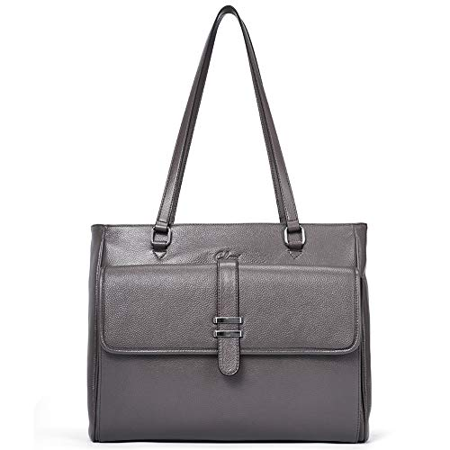 Genuine Leather Laptop Tote Bags for Women Large Briefcase Work Ladies Handbag Fits Up to 15.6 Inch gray Mother's Day Gifts