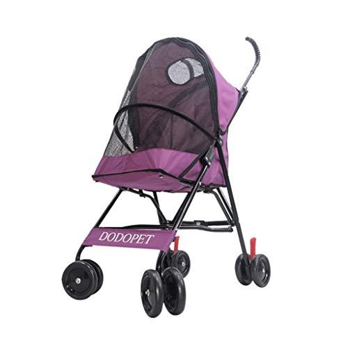 Cochecito Plegable Mascotas Carga 10kg Viajar Paseante Portátil Plegable Perro Silla De Paseo Carretilla Carro Jaula Cuatro Ruedas (Color : Pink): ...