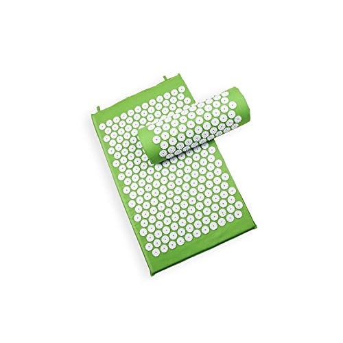 (Acupressure Mat Massage Relaxation Device Shakti Mat Chinese Acupuncture Mat Spike Mat with Pillow,Green)