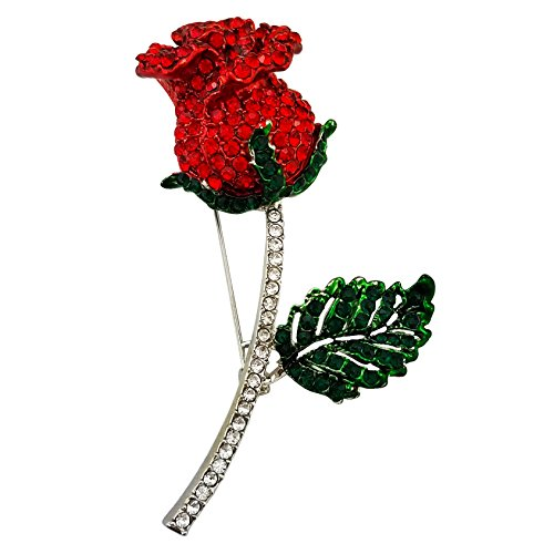(SELOVO Red Crystal Flower Leaf Green Brooch Pin Silver Tone Clear Crystal)