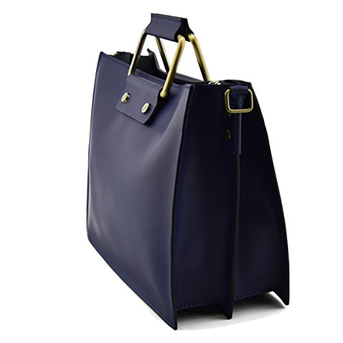 Borsa A Mano In Vera Pelle Colore Blu Scuro - Pelletteria Toscana Made In Italy - Borsa Donna