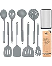 Silicone Cooking Utensil Set with Holder, 8 Pcs Non-Stick Cookware with Stainless Steel Handle, BPA Free Heat Resistant Kitchen Tools with Spatulas, Turners, Spoons, Skimmer and Pasta Fork
