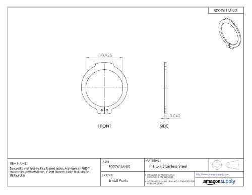 [해외]표준 외부 고정 링, 테이퍼 진 부분, 축 어셈블리, PH15-7 스테인레스 스틸, 부동태 피니쉬, 1 축 직경, 0.042 두꺼운, Made in/Standard External Retaining Ring, Tapered Section, Axial Assembly, PH15-7 Stainless Steel, Passivated Finish, 1...