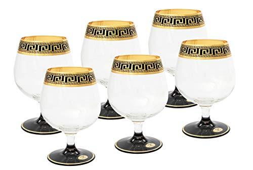 ArtDecor Greek Key, 11oz Old-Fashioned Liquor, Cognac, Brandy Glasses on a Stem ()