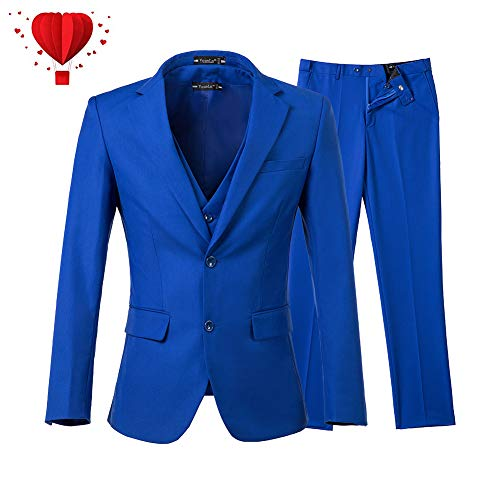 Yanlu Men's 3 Piece Royal Blue Suits 2 Buttons Wedding Groom Tuxedos -