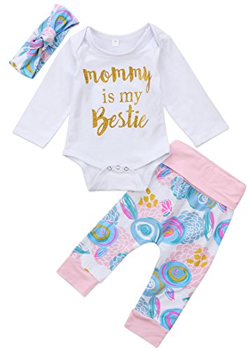 Exquise fille Newborn Baby Girls Clothes Mommy is My Bestie Long Sleeve Romper Floral Pants Headband Outfits Set (3-6 M)