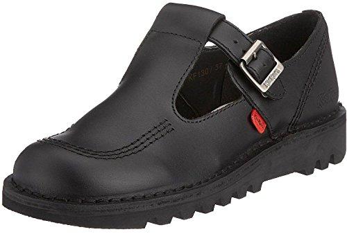 Kickers Kick Lo Aztec Black Leather Womens Mary Janes School Shoes-37 - Kickers Womens Kick