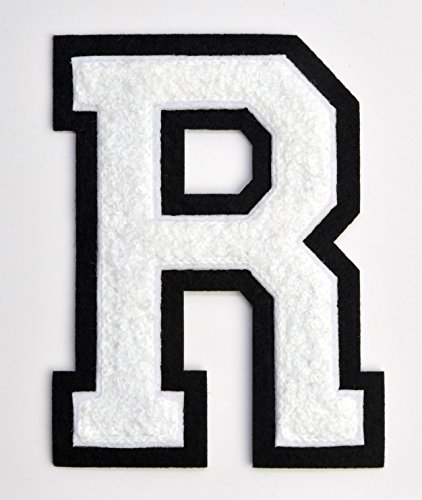 Varsity & College Athletics 4 1/2 Inch Iron-on Heat Seal or Sew On Embroidered Chenille Patch (WHITE, Letter R) - Varsity Jacket Patches