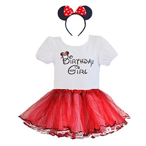 [Birthday T-Shirt Red/White Sparkling Tulle Tutu Sequin Trim Headband 3 PCs Set (Age 7)] (Dance Dress Costumes Studio)