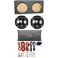 BOSS Audio 2 Boss P106DVC 10-Inch 4200W Subwoofers with Sealed Box with 2-Ch Amp with 8 Gauge Amp Kit (Pair)