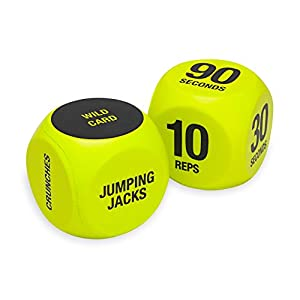 SPRI Exercise Dice (6-Sided) – Game for Group Fitness & Exercise Classes – Includes Push Ups, Squats, Lunges, Jumping…