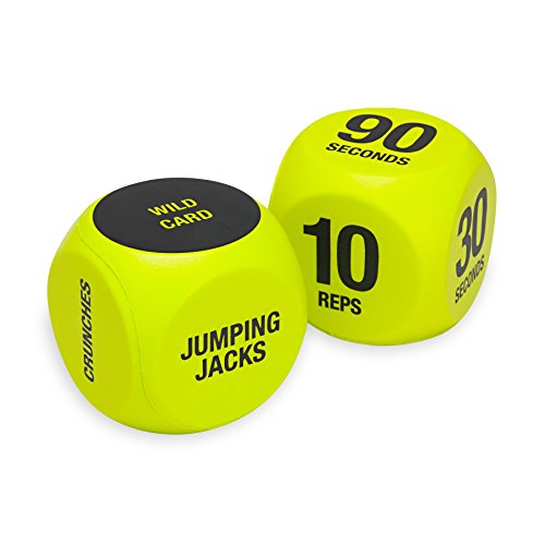 SPRI Exercise Dice (6-Sided) - Game for Group Fitness & Exercise Classes - Includes Push Ups, Squats, Lunges, Jumping Jacks, Crunches & Wildcard (Includes Carrying Bag) (Push Ups And Squats For Weight Loss)