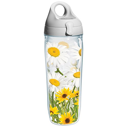 Tervis White Daisies Wrap Water Bottle with Grey Lid, 24-Ounce, Garden Party