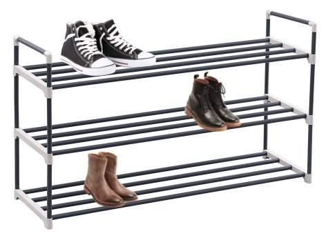Wooden Slides Sandals (3-Tier shoe rack organizer storage bench stand for mens womens shoes closet with iron shelves that holds 15 pairs. Hot black shoe racks with three tiers metal shelf & easy assembly with no tools.)