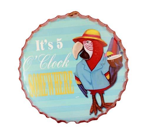 (Global Imports It's 5 O'clock Somewhere Bottle Cap Coastal Metal Sign Surfing Tropical Decor Parrot Tiki Bar)