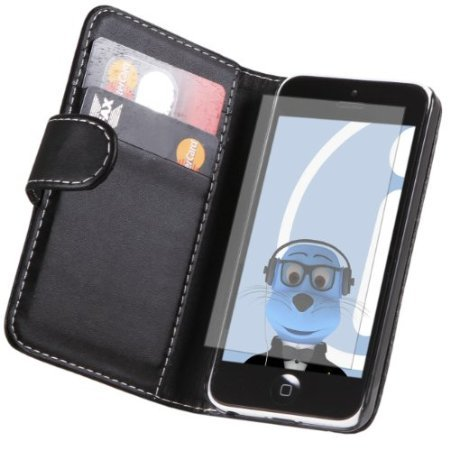 Viesrod iTALKonline Apple iPhone 5C (2013) PU Leather BLACK Executive Flip Wallet Book Case Cover with Credit / Business...