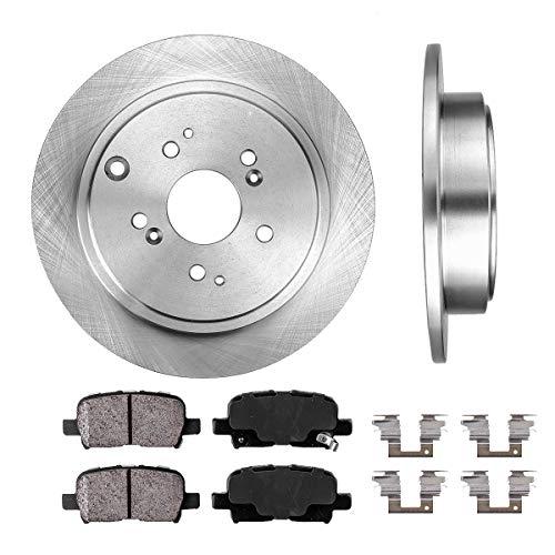 REAR 313 mm Premium OE 5 Lug [2] Brake Disc Rotors + [4] Ceramic Brake Pads + Clips
