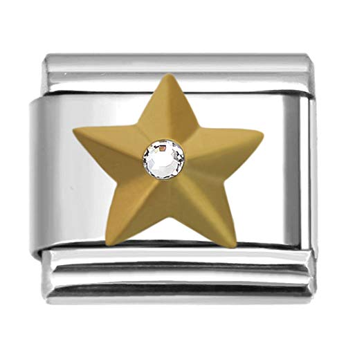 SilverAndJewelry Gold-Tone Army Star with Crystal Italian Charm Stainless Steel Link