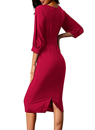 a39f6890 Home/Brands/MEET Dresses/Bulawoo Fall Women's Fashion Round Neck 3 4 Sleeve  Puff Sleeve Belted Pencil Dress With Pockets Medium Size Red. ; 