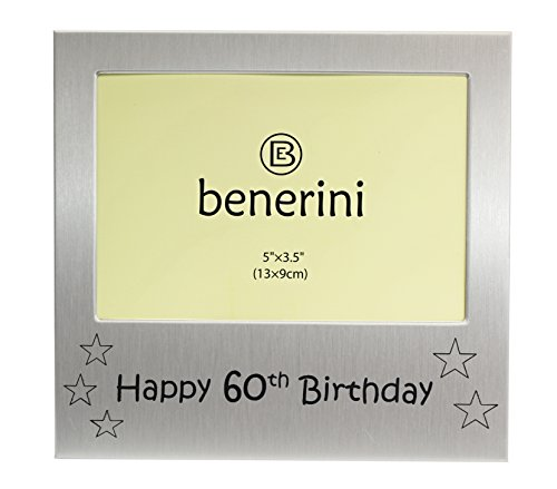 Happy 60th Birthday - Photo Frame Gift - Photo Size 5 x 3.5 Inches (13 x 9 cm) - Brushed Aluminum Satin Silver - Frames Men Happy Birthday For