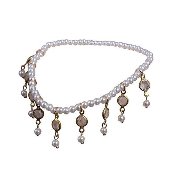 WeiMay 1 X Crystal Pearl Beaded cavigliera catena donne braccialetto alla caviglia sandalo a piedi nudi accessori da… 1 spesavip