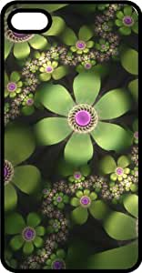 Abstract Green Blooming Flowers Black Rubber Case for Apple iPhone 6 Plus