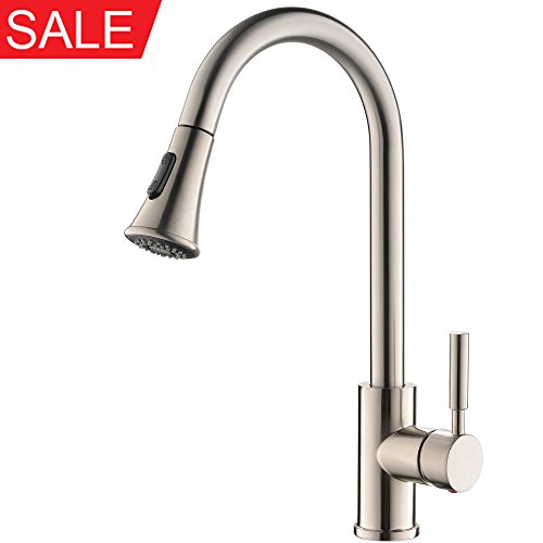 Dual Kitchen Sink (KINGO HOME Commercial High Arch Stainless Steel Single Lever Pull Down Sprayer Brushed Nickel Pull Out Kitchen Sink Faucets, Dual Function Spout)