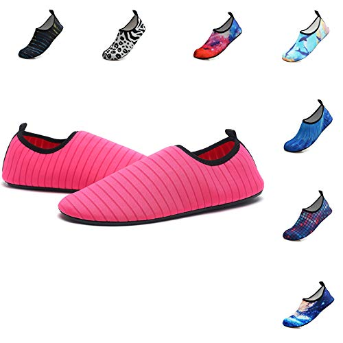 Water Sports Shoes Outdoor Beach Swimming Surf Quick-Dry Aqua Socks Barefoot Yoga Anti-Slip Shoes for Men Women (M: 7.5-8.5 M US Women / 6-7 M US Men, red)
