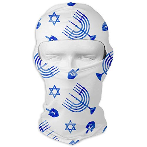 Hanukkah Watercolor Dreidel Star Men Women Balaclava Neck Hood Full Face Mask Hat Sunscreen Windproof Breathable Quick Drying White