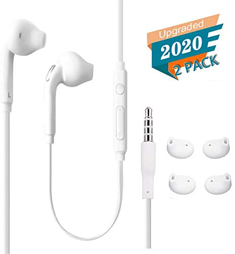 Timegevity Headphones/Earphones/Earbuds, (2 Pack) 3.5mm Aux Wired in-Ear Headphones with Mic and Remote Control for Galaxy S for Galaxy S9 S8 S7 S6 S5 Edge+Note 5 6 7 8 9and More Android Devices-White