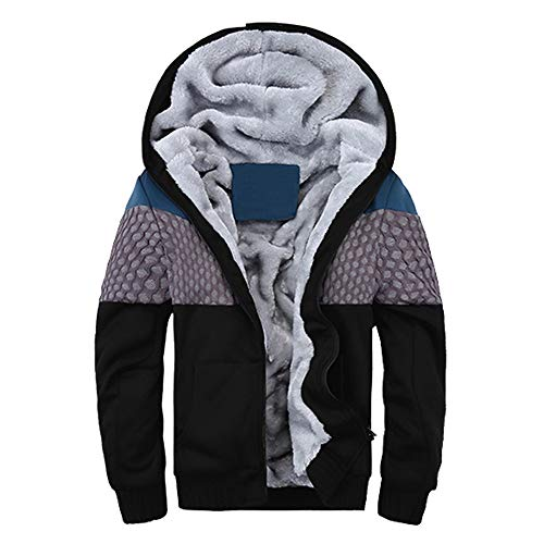 iTLOTL Mens Hoodie Winter Warm Fleece Zipper Sweater Jacket Outwear Coat Tops Blouses(BlackThicken,M)