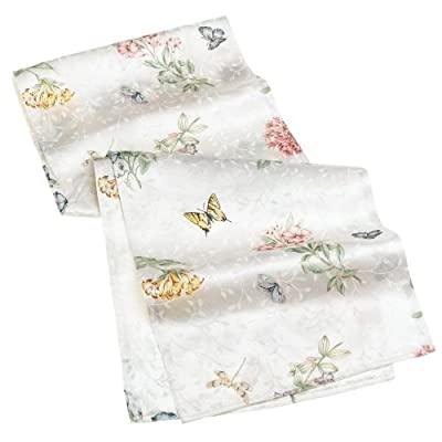 Lenox Butterfly Meadow 70-inch Table Runner - Airy, summery table runner; measures 70 inches in length Classic floral print on white ground with butterfly accents and subtle underlying leaf pattern Made of 54 percent cotton, 46 percent polyester - table-runners, kitchen-dining-room-table-linens, kitchen-dining-room - 41R4mBJcG3L. SS400  -