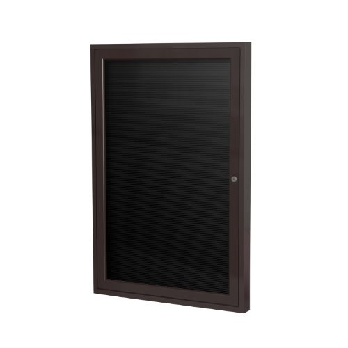 Ghent 36'' x 30'' 1 Door Outdoor Enclosed Vinyl Letter Board, Black Letter Panel, Bronze Aluminum Frame (PB13630BX-BK)